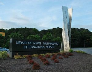 A sign that reads: Newport News Williamsburg International Airport.
